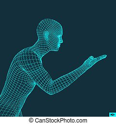 Man Points to Something by Hand. 3D Model of Man. Geometric Design.