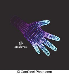 Human Arm. Hand Model. 3d Covering Skin. Vector...