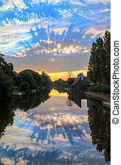 Sunrise reflection Amsterdam