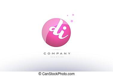di d i sphere pink 3d hand written alphabet letter logo - di...