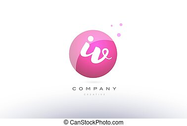 iv i v sphere pink 3d hand written alphabet letter logo - iv...