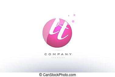 lt l t sphere pink 3d hand written alphabet letter logo - lt...