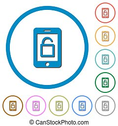 Smartphone unlock icons with shadows and outlines -...