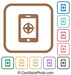 Mobile compass simple icons