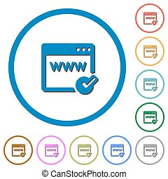 Domain registration icons with shadows and outlines - Domain...