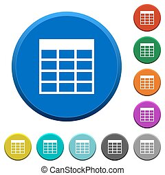 Spreadsheet table beveled buttons - Spreadsheet table round...
