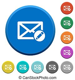 Write mail beveled buttons - Write mail round color beveled...
