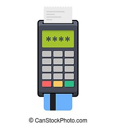 Payment POS Terminal with Card. Flat Style Icon. Vector...
