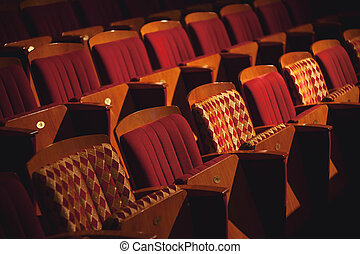 Rows of Theater Seats - Closeup view on rows of theater or...