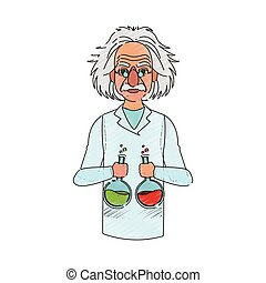 scientist man cartoon icon over white background. colorful...