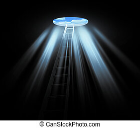 manhole with an ladder in darkness