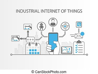 Industrial internet of things or industry 4.0 concept with simple icons on grey background