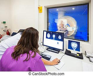 ospedale, moderno,  scanner