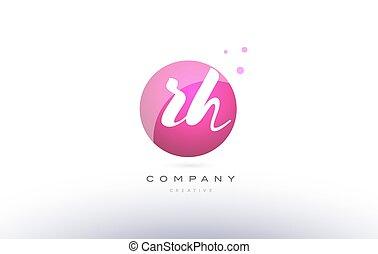 rh r h sphere pink 3d hand written alphabet letter logo - rh...