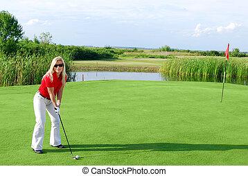 beauty girl on golf field