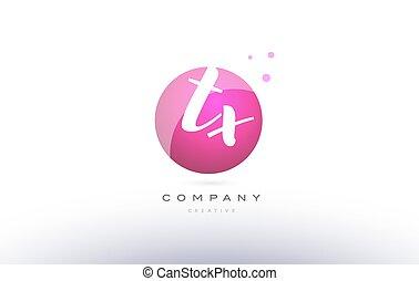 tx t x sphere pink 3d hand written alphabet letter logo - tx...