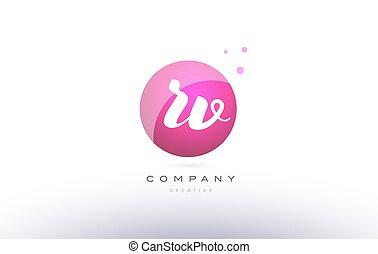 rv r v sphere pink 3d hand written alphabet letter logo - rv...