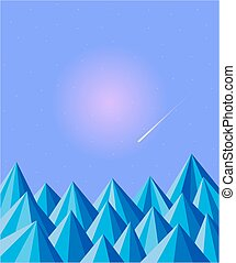 Polygon abstract winter mountain background. - Polygon...