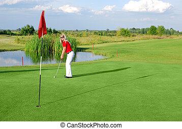 beauty girl play golf