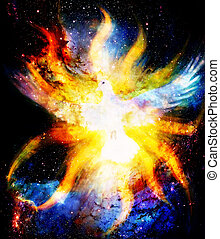 Dove in cosmic space and light flame. Painting and graphic...