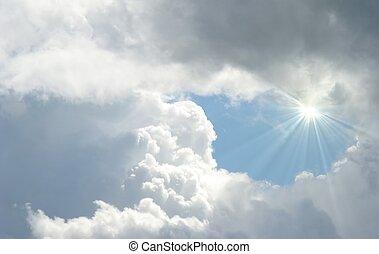 sunburst - shinning sun gleaming through the clouds