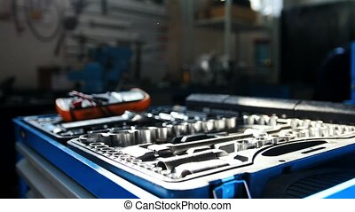A set of tools for repair - screwdriver, voltmeter, wrenches...