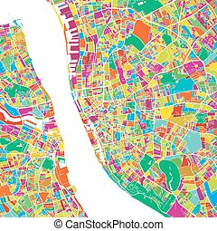 Liverpool Colorful Vector Map, printable outline Version,...