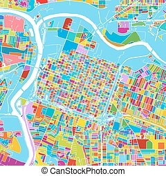 Sacramento, California, Colorful Vector Map