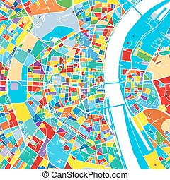 Cologne, Germany, Colorful Vector Map, printable outline...