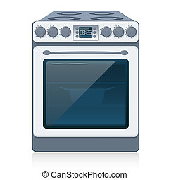 Kitchen Stove isolated on white. Vector. - Kitchen Oven...