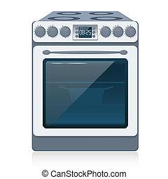 cocina, estufa, aislado, blanco, vector