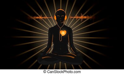 HD cartoon of yoga listening his heart, with sound waves