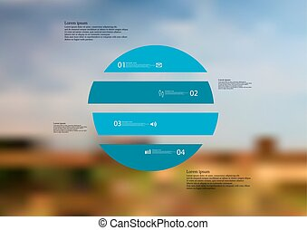 Illustration infographic template with circle horizontally divided to four blue standalone parts