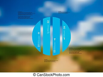 Illustration infographic template with circle vertically divided to four blue standalone parts