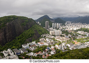 View of the cove of Botafogo in Rio de Janeiro - Wide-angle...
