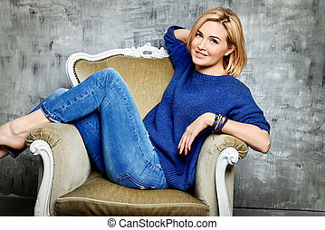 happy middle age - Beautiful middle-aged woman in casual...