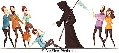 Death Fear Phobia Anxiety Cartoon Composition - Fear of...
