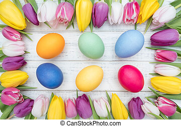 Easter eggs with tulips