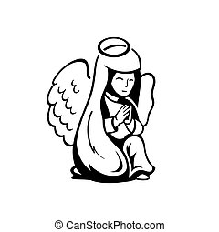 Praying angel on her knees isolated