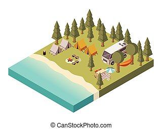Camp Near Lake Isometric Illustration - Camp near lake with...