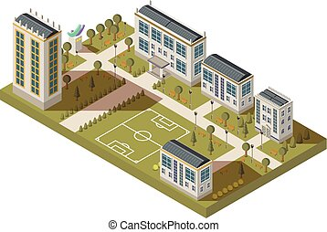 Student Quarter Isometric Landscape - Isometric university...