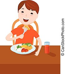 Cute cartoon small boy dined at the table
