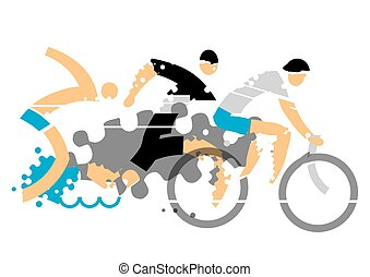 Triathlon competition - Stylized illustration of Three...