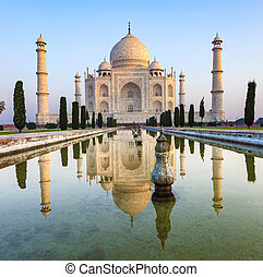 Taj Mahal in India with reflection in water