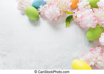 Easter frame with flowers and Easter eggs - Beautiful...