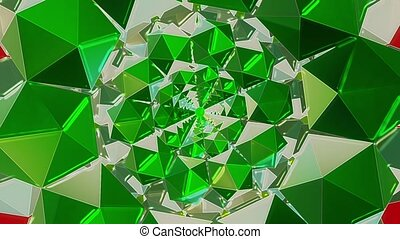Kaleidoscope tunnel in green color