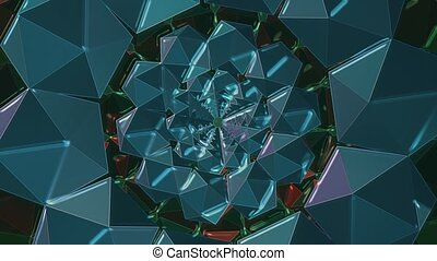 Kaleidoscope tunnel in blue color