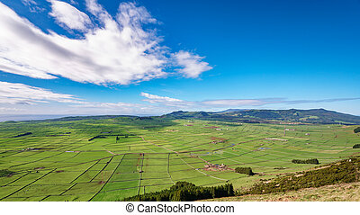 Farm fields in the Terceira island in Azores - Top view of...