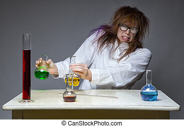 Disgust and shaggy scientist in lab on gray background