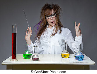 Working grimacing scientist in lab on gray background